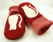 Cat Mittens Felted Wool in Red and White with Cat Applique Leather Palm Eco Friendly  Upcycled  Size XS