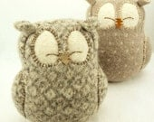 """Sleepy Owl  Felted Wool in Natural White and Beige with Lamb Wool Stuffing Eco Friendly Upcycled Height 7"""""""
