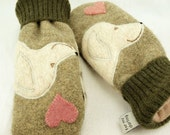 Golden Retriever Mittens  Felted Wool Grey Green, Beige, Pink and Natural White Dog and Heart  Applique Leather Palm Eco Friendly Size S