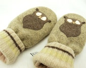 Owl Mittens  Felted Wool in Beige Green, Brown and  Natural White with Owl Applique and Suede Palm Eco Friendly Upcycled Size M/L