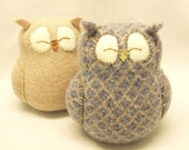 """Sleepy Owl Blue Grey and Beige Felted Wool Home Decor Lamb Wool Stuffing Eco Friendly Upcycled Height 7"""""""