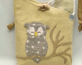 """Owl Shoulder Bag Linen Bag in Light Green Yellow, Beige and White Owl Applique Adjustable Leather Strap Upcycled Eco Friendly Height 10"""""""