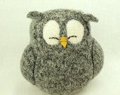 Grey Sleepy Owl  Felted Wool Lamb Wool Stuffing Eco Friendly Upcycled Height 7""