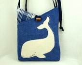 """Whale Shoulder Bag Linen Bag Blue and White Whale Applique Adjustable Leather Strap Upcycled Eco Friendly Height 10"""""""