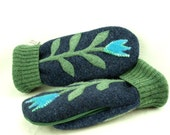 Mittens Felted Wool Flower Appliqued Mittens  Blue, Green and Turquoise Fleece Lining Suede Palm Up Cycled Eco Friendly Size M