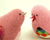 """Pink Bird Felted Wool Lamb Wool Stuffing Home Decor Ornament Spring Nursery Eco Friendly Up Cycled  Height 4.5"""""""