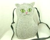 """Cat Shoulder Bag Wool Messenger Bag in Light Grey Adjustable Leather Strap Cotton Lining Height 11.8"""""""