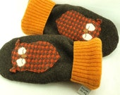 Woolen  Mittens in Dark Brown, Orange, Yellow and Green with Owl Applique Fleece Lining Leather Palm Eco Friendly Upcycled Size M/L