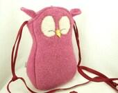 Felted Wool Bag Owl Shoulder Bag Pink Wool Purse  Adjustable Leather Strap Cotton Lining Eco Friendly