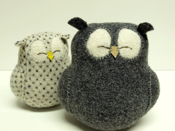 Upcycled Felted Wool Grey Sleepy Owl