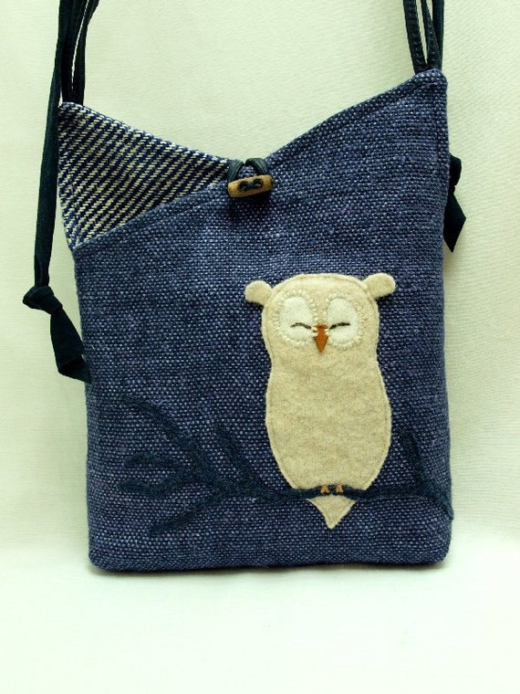 Owl Shoulder Bag Linen Messenger Bag in Blue, Beige and White with Owl Applique and Adjustable Leather Strap Upcycled Eco Friendly