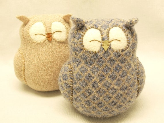 Sleepy Owl Blue Grey and Beige Felted Wool Home Decor Lamb Wool Stuffing Eco Friendly Upcycled Height 7""