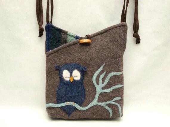 "Owl Shoulder Bag Wool and  Linen Messenger Bag Brown Blue Green Owl Applique Adjustable Leather Strap Upcycled Eco Friendly Height 10"""