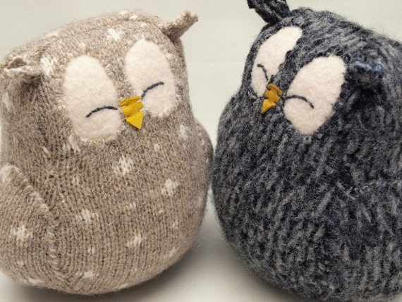 Dark Grey Sleepy Owl  Felted Wool Lamb Wool Stuffing Eco Friendly Upcycled Height 7""