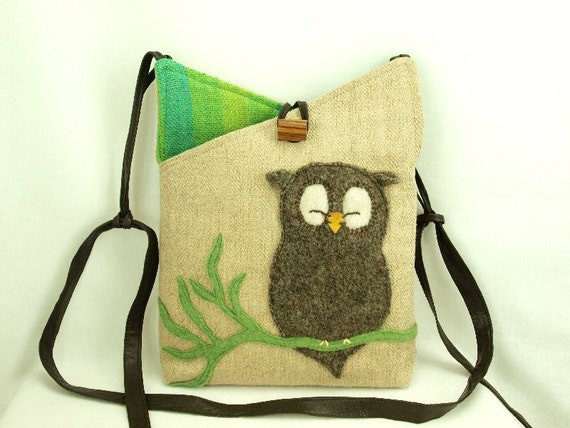 """Owl Shoulder Bag  Linen Natural Color Brown and Green Owl Applique Adjustable Leather Strap Upcycled Eco Friendly Height 10"""""""