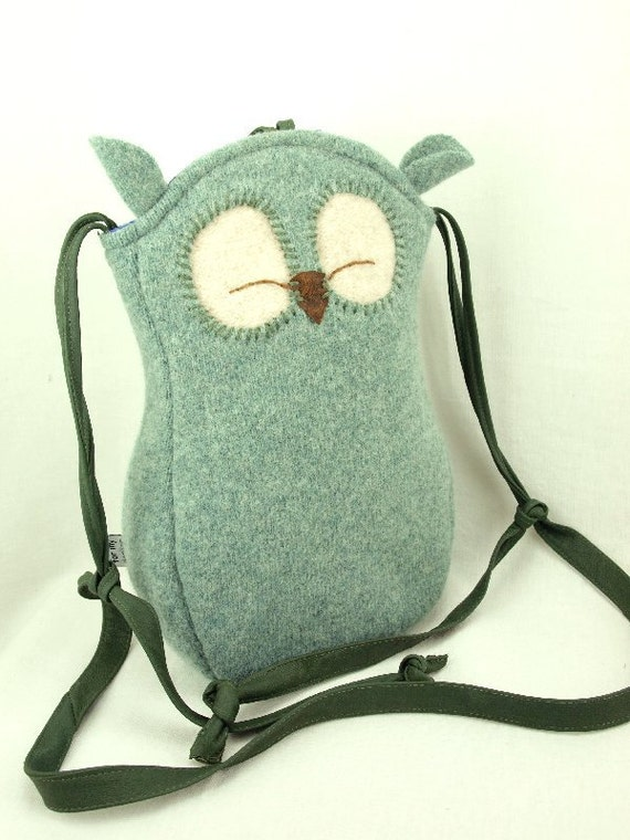 """Owl Shoulder Bag Wool Messenger Bag in Light Turquoise and Natural White with Adjustable Leather Strap Linen Lining Height 10"""""""