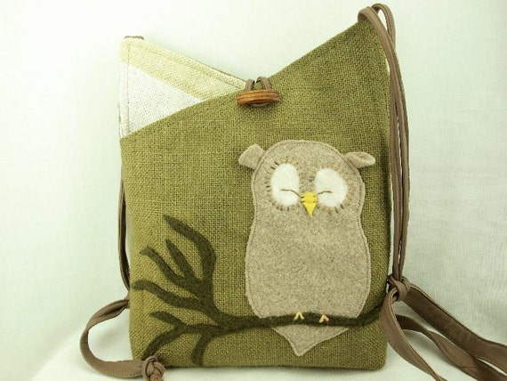 Linen Tote Bag Owl Shoulder Bag Recycled Linen Purse Laptop Bag Moss Green Owl Applique Adjustable Leather Strap Upcycled Eco Friendly