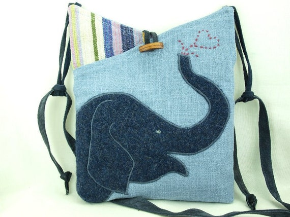 Elephant Messenger Bag Upcycled Linen Purse Linen Tote Laptop Light Blue Elephant Applique Adjustable Leather Strap Upcycled Eco Friendly
