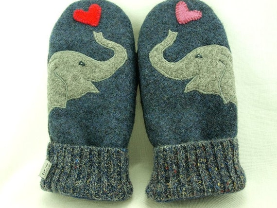 Wool Sweater Mittens Recycled Mittens Elephant Mittens Grey Applique Fleece Lined Mittens Leather Palm Eco Friendly  Up Cycled  Size L