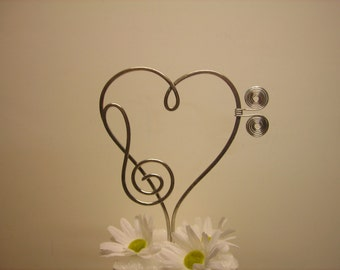 Musical Heart Treble Clef Cake Topper Decoration for All Music Lovers Bass music note