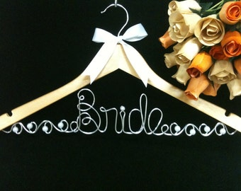 Bride Hanger with Pearl and Rhinestone Broach JUMBO Letters  Wedding Dress Photo opportunity
