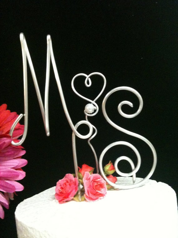 3 Piece Personalize  Wire Initial Cake Topper for A Unique Couple Whimsical  Letters for Wedding or Anniversary Cake