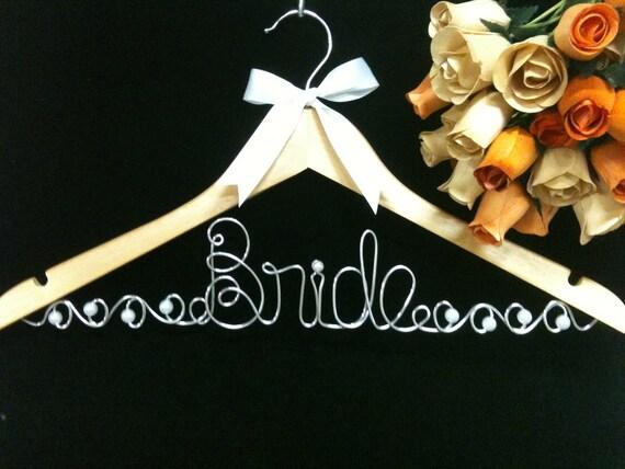 JUMBO letters Bride Hanger with Swirls and Pearls Custom Wedding Hanger
