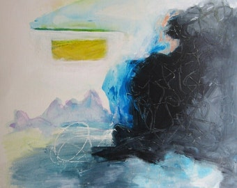 grey painting, grey blue seascape, abstract sea painting, acrylic on water-colour paper skim painting, cliff, cliff painting abstract