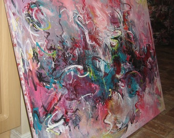 Shifting art  huge abstract painting contemporary modern abstract art, painting landsape by sj.kim