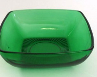 6 Fire King Forest Green Glass CHARM Square MidCentury Dessert Bowls Ice Cream or Fruit set of 6