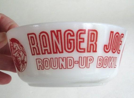 Ranger Joe Child's Glass Cereal Bowl Hazel Atlas with Red Decoration