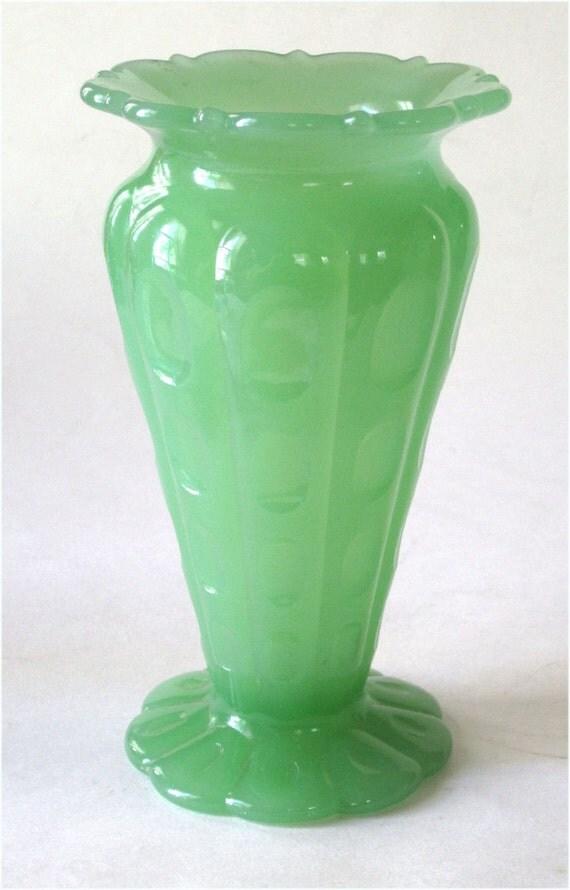 1920s Fenton Art Glass Jade or Jadite Thumbprint  Art Deco Vase