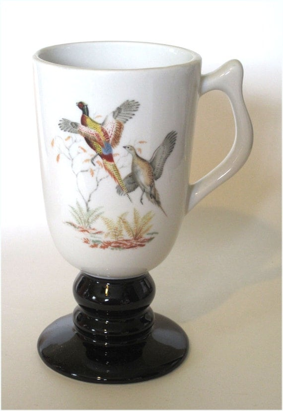 Vintage Hall China Irish Coffee Mugs Country Game Birds Decoration Set of 6
