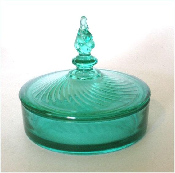 1930s Milady Green Depression Glass Powder Jar by New Martinsville Glass
