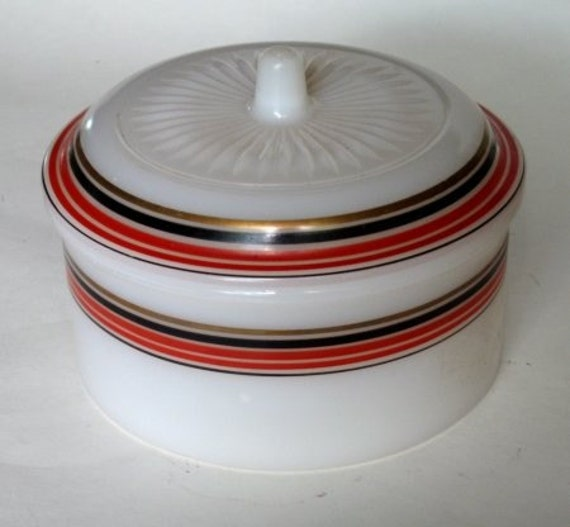1930's Hazel Atlas Milk Glass Refrigerator Dish or Canister with Red Black Gold Stripes SALE