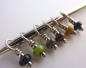 Knitting Stitch Markers Perfect for Lace and Socks - Tiny Gems Mix Polish Stone