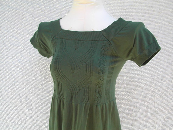 Vintage 60s 70s Forest Green Stretchy Mini Dress medium small