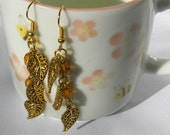 Amber and Autumn Leaves Glass Beaded Earrings