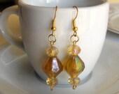 Amber Yellow Bejeweled Earrings