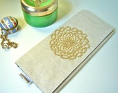 Romantic Oatmeal Envelope Clutch adorned with Vintage Lace
