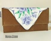 Envelope Clutch - Brown Waxed Canvas and Vintage Hankie - Purple Flower - SALE