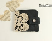Handmade Women's Wallets-Fabric Credit Card Wallet-Upcycled  Vintage Lace-Black and Tan