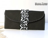 Credit Card Wallet - Fabric Women's Wallet - Black and White Polka Dots - Ruffle