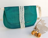 Women's Shoulder Bag with Long Strap - Emerald Green Dupioni Silk - Vintage Lace