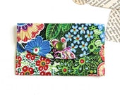 Women's Wallet - Fabric Credit Card Holder - Tropical Flower