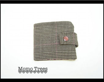 Handmade Fabric Credit Card Wallet-Slim Women's Wallets-Brown and Pink Plaid