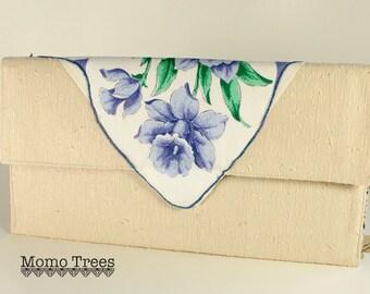 Envelope Clutch - Vintage Handkerchief - Purple Flowers - Ivory- SALE