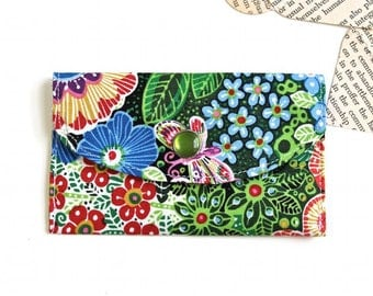 Women's Wallet - Fabric Credit Card Holder - Tropical Flower