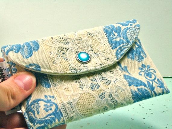 Feminine Mini Wallet Card Holder-Women's Fabric Wallets-Shabby Chic Wallets-Blue Damask & Vintage Lace