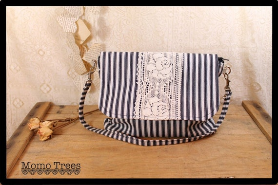 Wristlet and Shoulder Bag in One -Shabby Chic- Black and White Ticking - Rose Lace